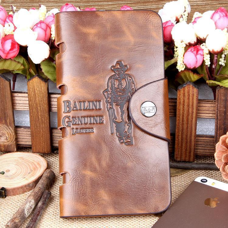 Special Promotion Free Shipping New Men's Vintage Wallet Fine Bifold Brown Genuine Leather & Pu Bailini Purse Wallets For Men(China (Mainland))
