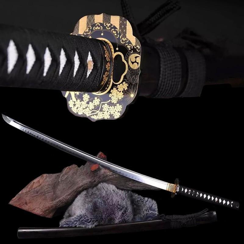 Buy Home Decoration Katana T10 burned edges hand ground handmade Japanese sword collection home decoration knife brand cheap