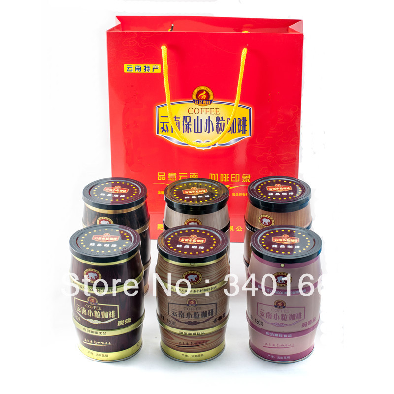 Small grain coffee canned three in instant coffee 130g 6 tank portfolio bag