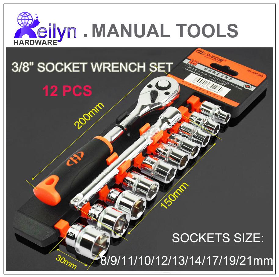 Free Shipping chrome-vanadium steel 3/8 socket wrench set 12 pcs sockets Ratchet Wrench set<br><br>Aliexpress