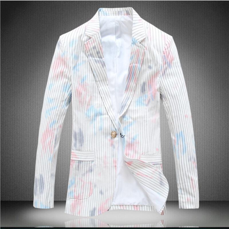 The New Spring 2015 Mens Fashion Personality Mens Striped Blazer Men White Blazer Mens Casual Jackets JacketОдежда и ак�е��уары<br><br><br>Aliexpress