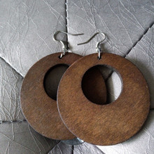 One Pair Only 50mm Vintage Coffee Round Wooden Earring V49(China (Mainland))
