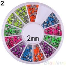 6 Colors 2-3mm Neon Rivet Round Metal Stud Rhinestone Fashion Nail Art DIY Decoration 02EF