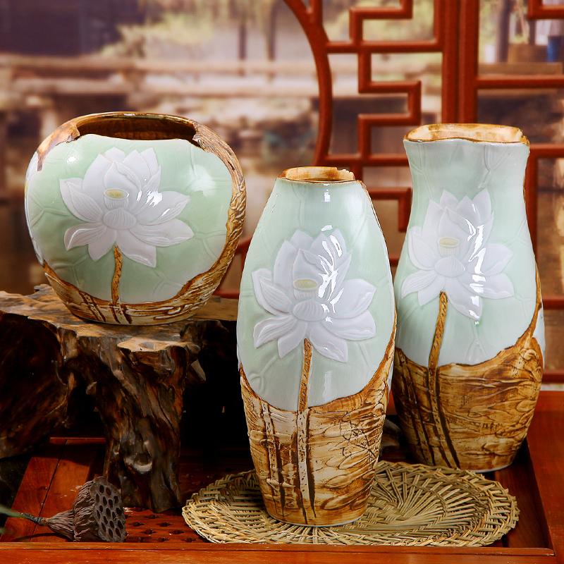 Pure hand carved clay glaze ceramic craft ornaments Jingdezhen vase set three European Home Furnishing - Online Store 626679 store