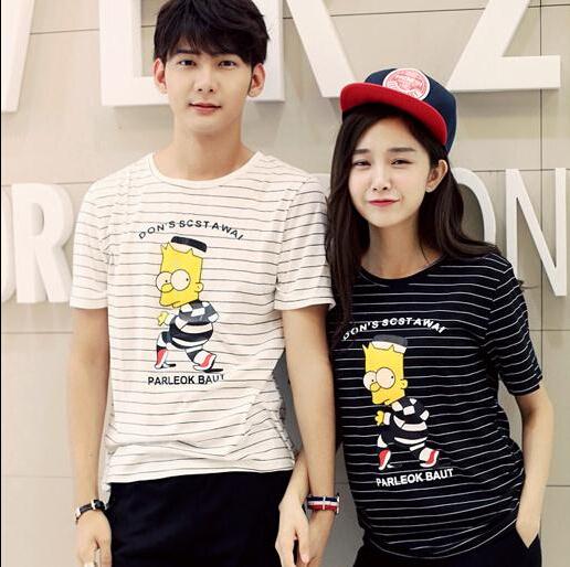 Влюблённые лето T рубашка для пар лето рубашка мужчины и женщины с круглым вырезом прекрасный знаки печать TShirt одежда M-XXL