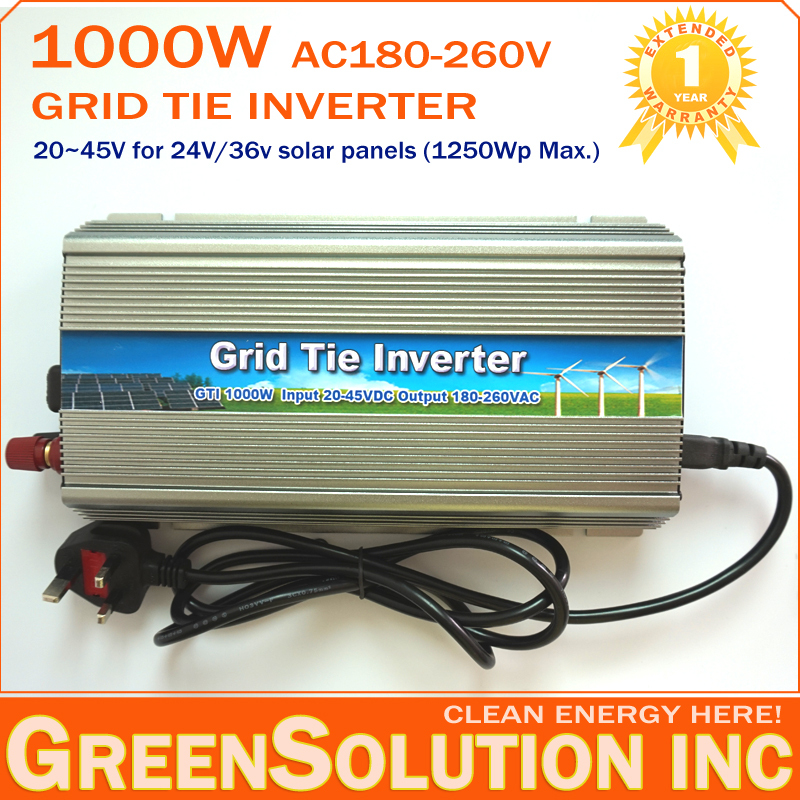 HOT SALE!! 1000W 24V Grid Tie Micro Inverter DC22V-45V to 180V-260V MPPT Inverters Pure Sine Wave for 1250W 24V Solar Panels(China (Mainland))