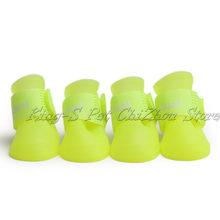 Kolorowe buciki dla zwierząt PU żel krzemionkowy wodoodporne buty dla zwierząt, 4 sztuk/zestaw obuwie dla psów 8 cukierkowe kolory kalosze dla kotów rozmiar S/M/L/XL/XXL(China)
