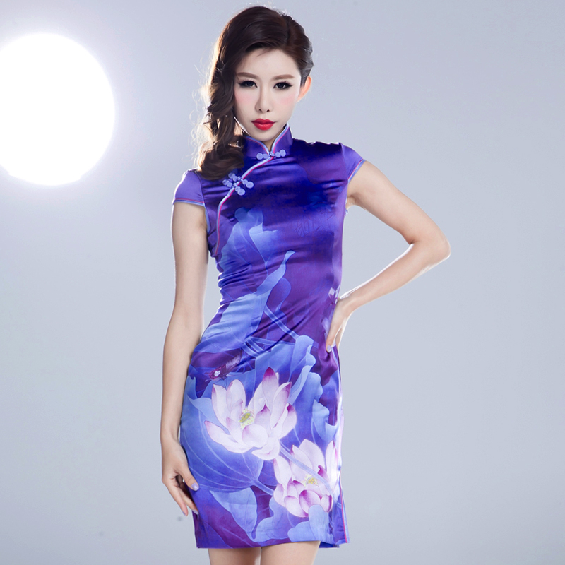 Wedding Long Cheongsam 2015 Clip Cheongsam High Slits Short Sleeved Heavy Silk Moonlight Toast The Wedding Dress Female 0015(China (Mainland))