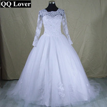 Buy Real Pictures Vestido De Novia 2017 Long Sleeve Lace Wedding Dress Ball Gown Wedding Dresses 2017 Robe De Mariage Mariee for $100.62 in AliExpress store