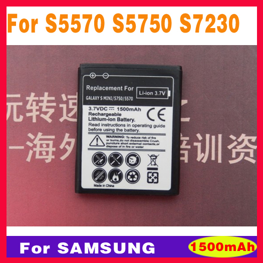 10Pcs High Quality 1500mAh S5570 Replacement Battery for Samsung Galaxy Mini S5570 s5750 S5330 S7230 S5750E S5250,GT S5330(China (Mainland))