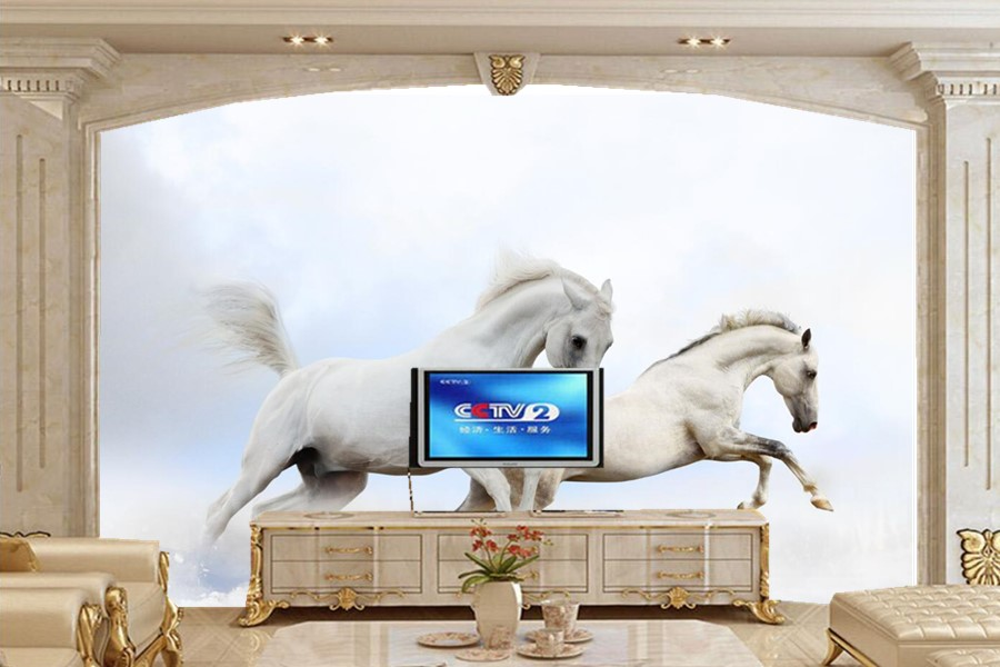 Wallpaper 3d mural two white horses animals photo 3d for 3d wallpaper for dining room