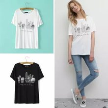 WJ1 Fashion Summer 2015 Women Elegant Cactus Print Embroidery White T shirt O neck Short Sleeve Casual Brand T-shirt Tops Tee(China (Mainland))