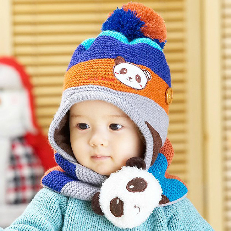 Baby & kids bone panda knitting wool + fleece winter warm ...