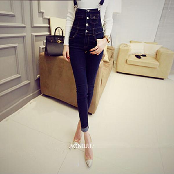 2015 New High Waist Skinny Jeans Fashion Boyfriend Jeans for Women Slim Button Overalls Denim Long Pencil Pants Color Blue PT02(China (Mainland))