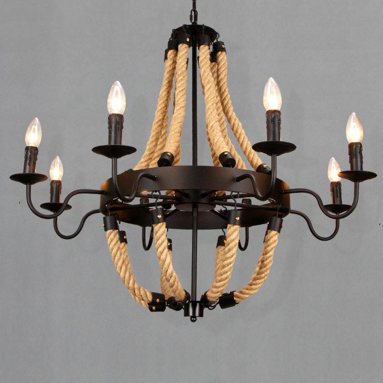 Industrial Rope Pendant Lights 3 6 8 Bulb Pendant Lamp