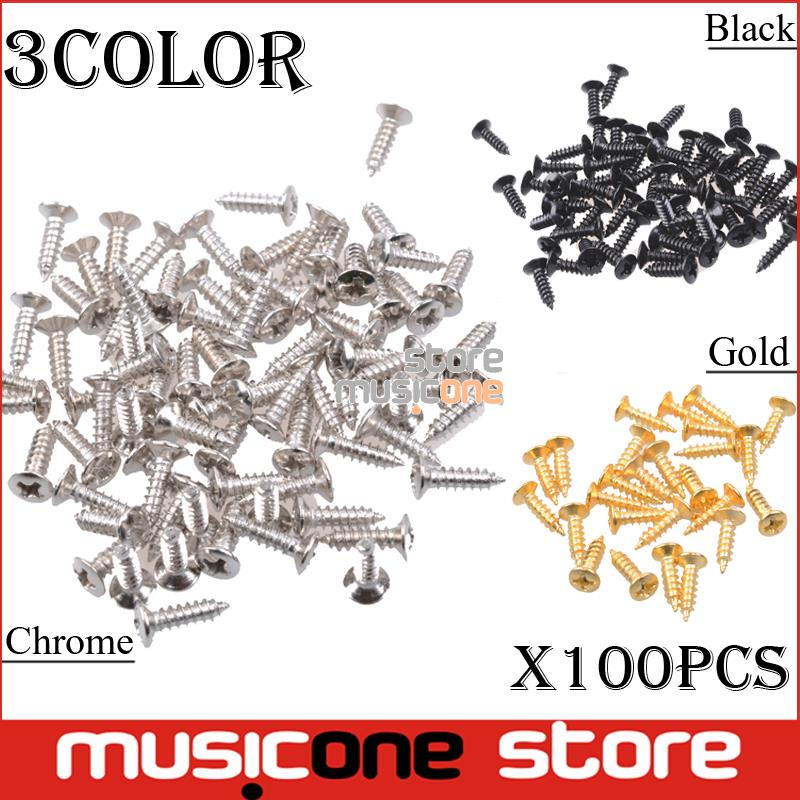 100pcs Bass Guitar Pickguard Screws,Cavity Cover Jack Cover Plate screw For Electric Guitar Bass 3*12mm Chrome / Gold / Black(China (Mainland))