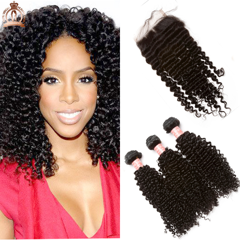 Brazilian Kinky Curly Hair  With Lace Closure Brazilian Virgin Hair With Closure Grade 3 Bundles With Closure Human Hair Weave