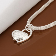 Free Shipping Best Gift silver plated fashion necklaces for women 2015 Inlaid Stone Heart patek ruby