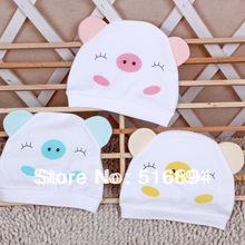 Free Shipping 6pcs/lot Newborn Baby Hat 100% Cotton Cute Lovely Pig Hat Neonate Trottie Infant Animal Cap Kids Warm Headwear(China (Mainland))
