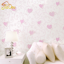 3D Pink Love Heart Cartoon Princess Girl Room Background Wallpaper Roll 3D Embossed Flocking Non Woven Kids Wall Covering Paper(China (Mainland))