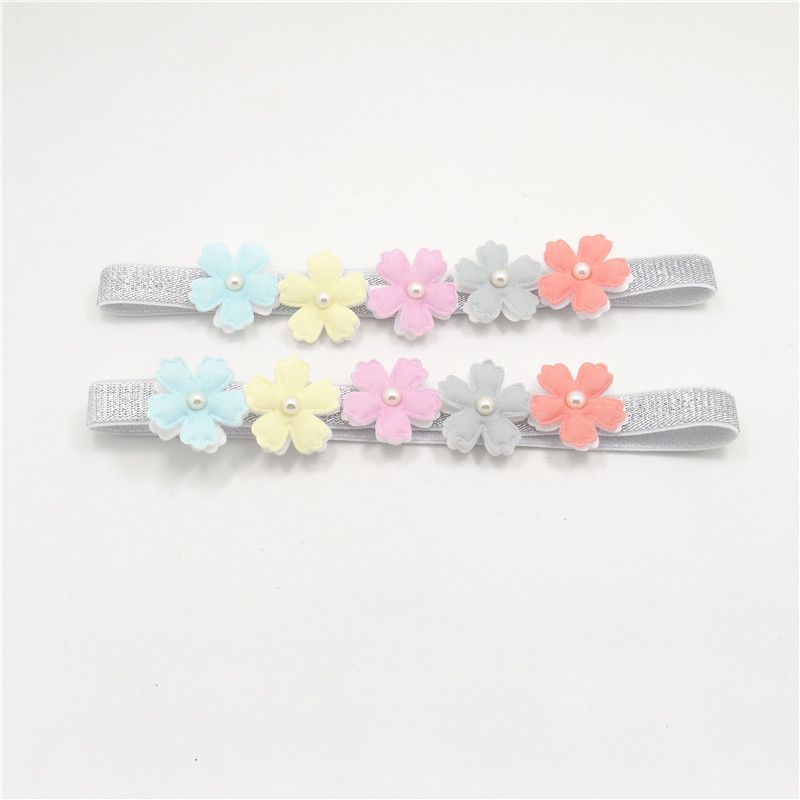 16pcs/lot Two-layer Rainbow Color Flower Stretch Headband Spring Floral Glitter Elastic Head Band Sparkly Fairy Toddler Headwrap(China (Mainland))