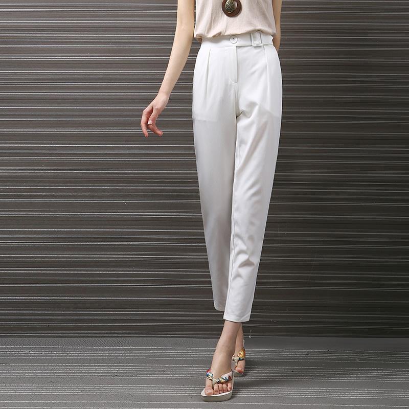 Simple White Harem Pants For Women High Waist Business Office Trouser Pocket Capri Pants(China (Mainland))