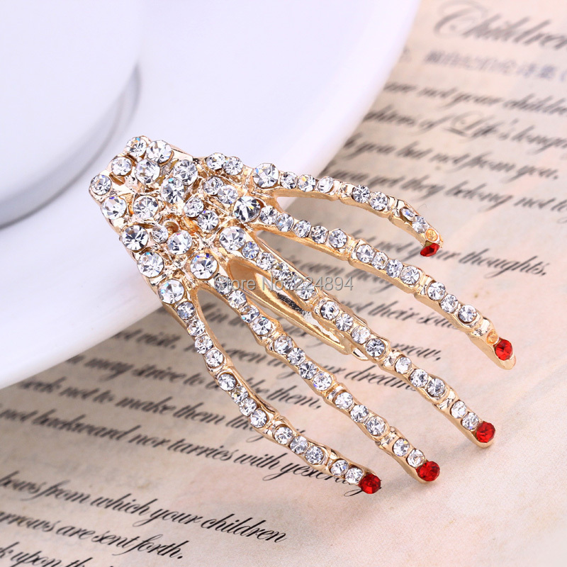 2015 Fashion Crystal Skeleton Metal Hair Barrette Clip New Rhinestone Skull Claw Pins Hair Accessories Cheap(China (Mainland))