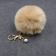 8 CM Fofo Falso Fur pompom Pérola Chaveiro chaveiro Pele pompom clef porte Para O Saco Encantos chaveiro llaveros sleutelhanger(China)