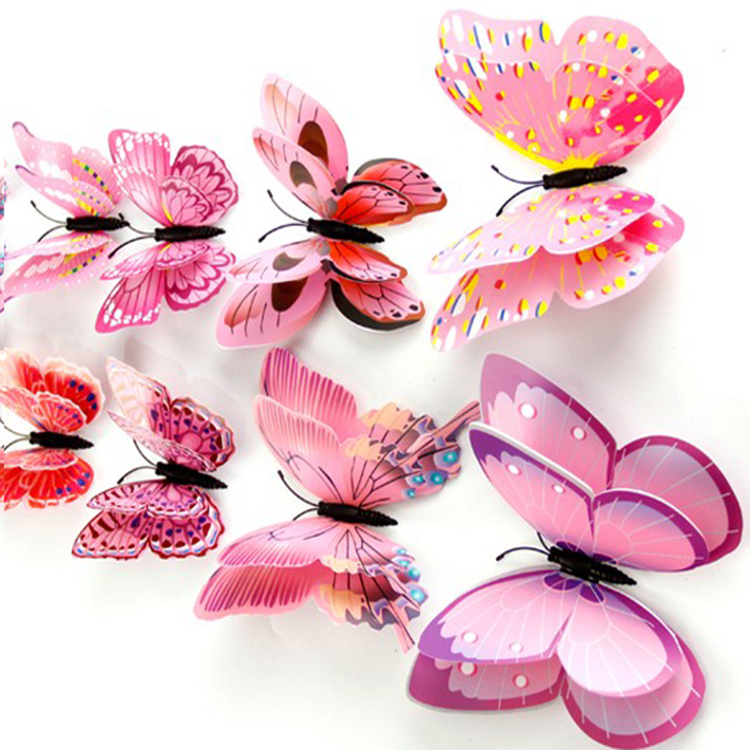 3d pvc butterfly wall stickers home decor butterfly butterfly big pink flower pvc wall stickers for living