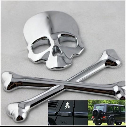 Stainless Crossbones Demon Bone Metal Skull 3D Emblem Badge 3M Glue Decal Sticker Silver Fit For Tucsom Elantra Accent ect(China (Mainland))