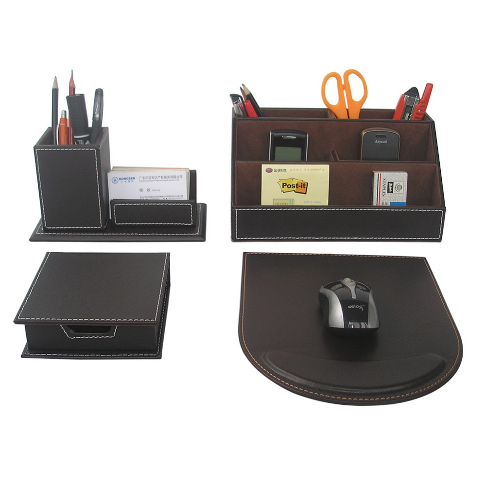 Ever Perfect 4PCS/Set Leather Office Desk Stationery Accessories Organizer Pen Holder Box Mouse Pad Name Card Stand T41(China (Mainland))
