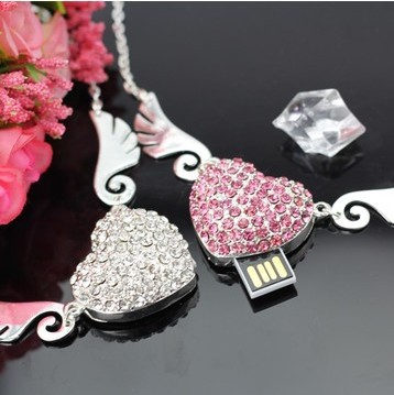 50pcs/lot Best Seller Crystal necklace Angel's Wings heart usb flash drive / Usb Memory stick / pen drive 4GB 8GB 16GB(China (Mainland))