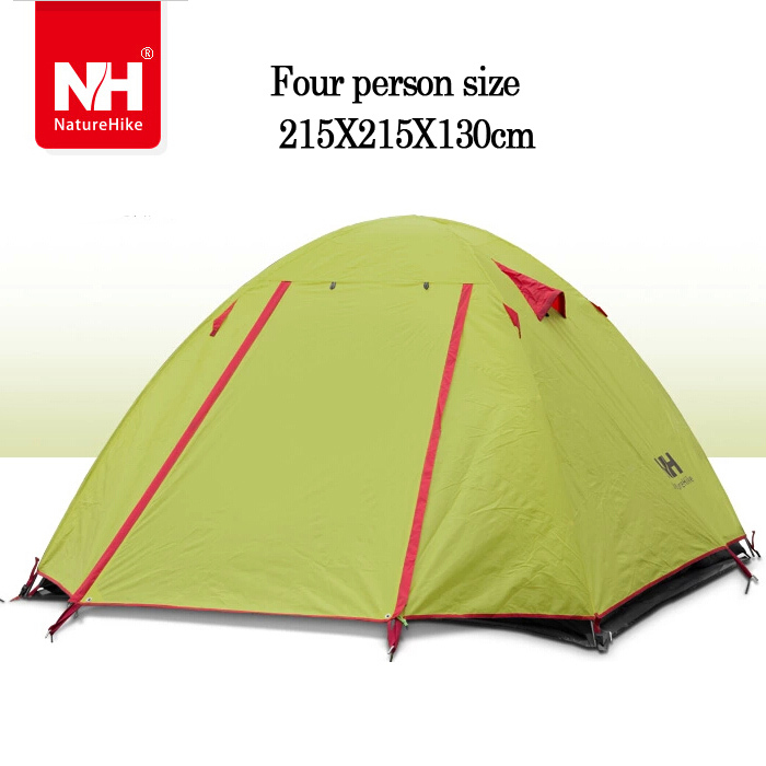 NH Outdoor Double Layer Camping Tent 4 person Waterproof Aluminum Hiking Beach tent tourist Naturehike Ultralight - WINGACE Ship-flag Store store