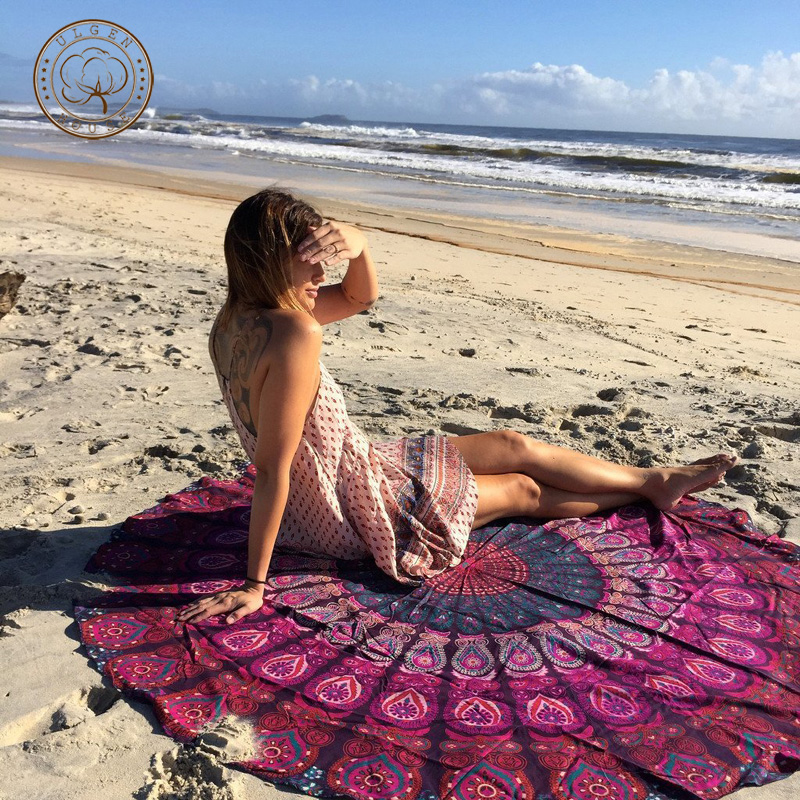 2016 summer Bohemia style soft large shawls round beach towels for woman(China (Mainland))