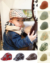Free Shipping 2016 Spring and Autumn Kids Fashion Berets Plaid Hats For Baby Boy And Girl Hat And Cap 9 Colors Baby Berets Hats