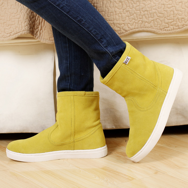 2015 Warm Winter Slip On Women Waterproof Cowhide Snow Boots Cow Muscle Boots Outsole Bboots Genuine Leather Shoes Lover boots