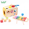 Musical Toys for Children Wooden Music Pounding Bench Shape Sorter with Xylophone Christmas Gift