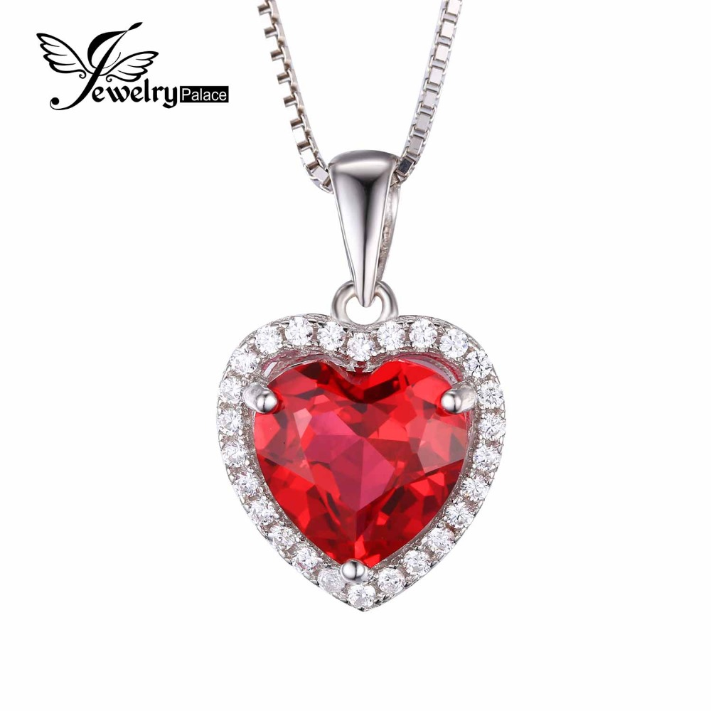 Feelcolor 4.5ct Pigeon Blood Red Gem Stone Ruby Pendant Heart Women Wedding Genuine Solid 925 Sterling Silver Fine Jewelry - Jewelrypalace store