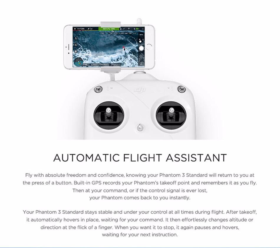 DJI Phantom 3 Standard FPV 12MP Camera Shoots 2.7K Video RC + Extra Battery + Hardshell Backpack