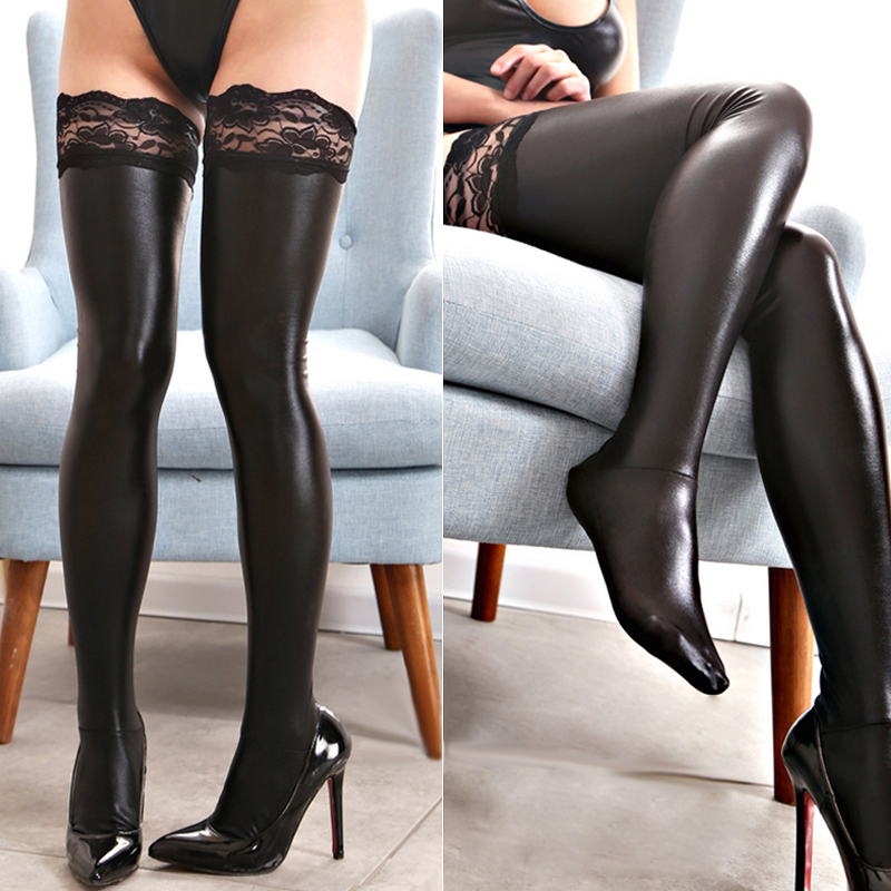 Davidsource Laced Tight-fit Over-knees Stocking Shiny Sex Sock Flirty Costume Flexible Sexy Erogenous Clothing Accessory