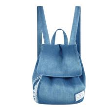 Women Denim Backpacks Female Jeans Lace Shoulder Retro Sport Bag Satchel Women's Bag Canvas School Bag Mochila Feminina Rucksack(China (Mainland))