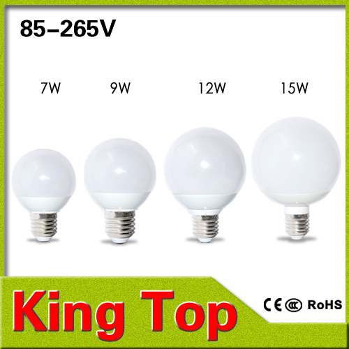 New Design 100% CREE Chip E27 Led Spotlights 7W 9W 12W 15W 360 Degree Globe lighting SMD5730 AC85V - 265V R60 R70 R80 R90 1PCS(China (Mainland))