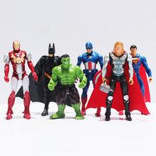 6 pçs/lote Super-heróis Os Vingadores Batman Homem Aranha Homem De Ferro Thor Capitão América Joint Moveable PVC Modelo Figura Boneca Brinquedos(China)