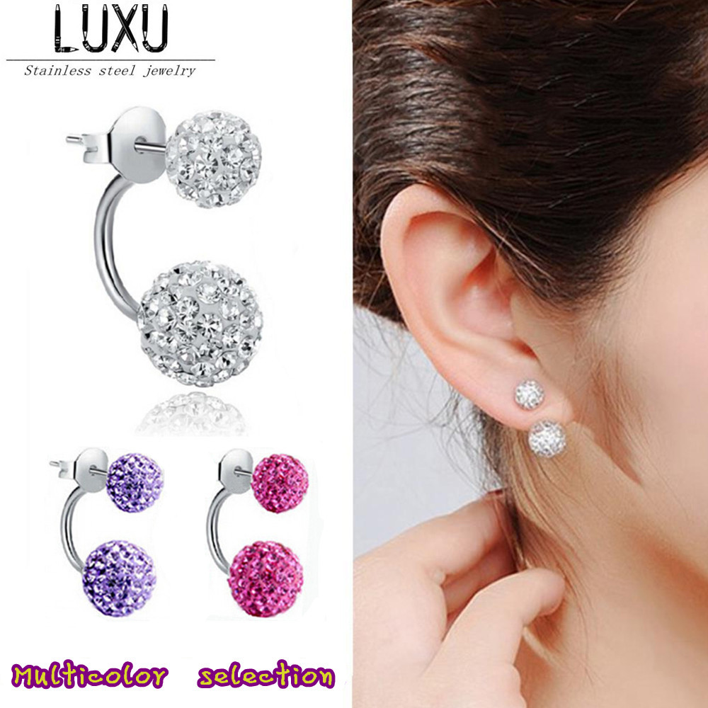 2015 New Double Side Earrings,Fashion Crystal Disco Ball Shamballa Stud Earrings For Women,Bottom Is Stainless Steel,Top Quality(China (Mainland))