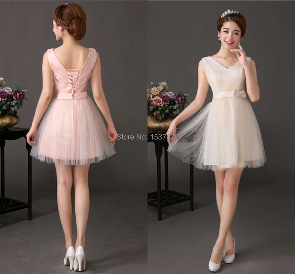 Short champagne dresses chinese goods catalog for Champagne pink wedding dresses