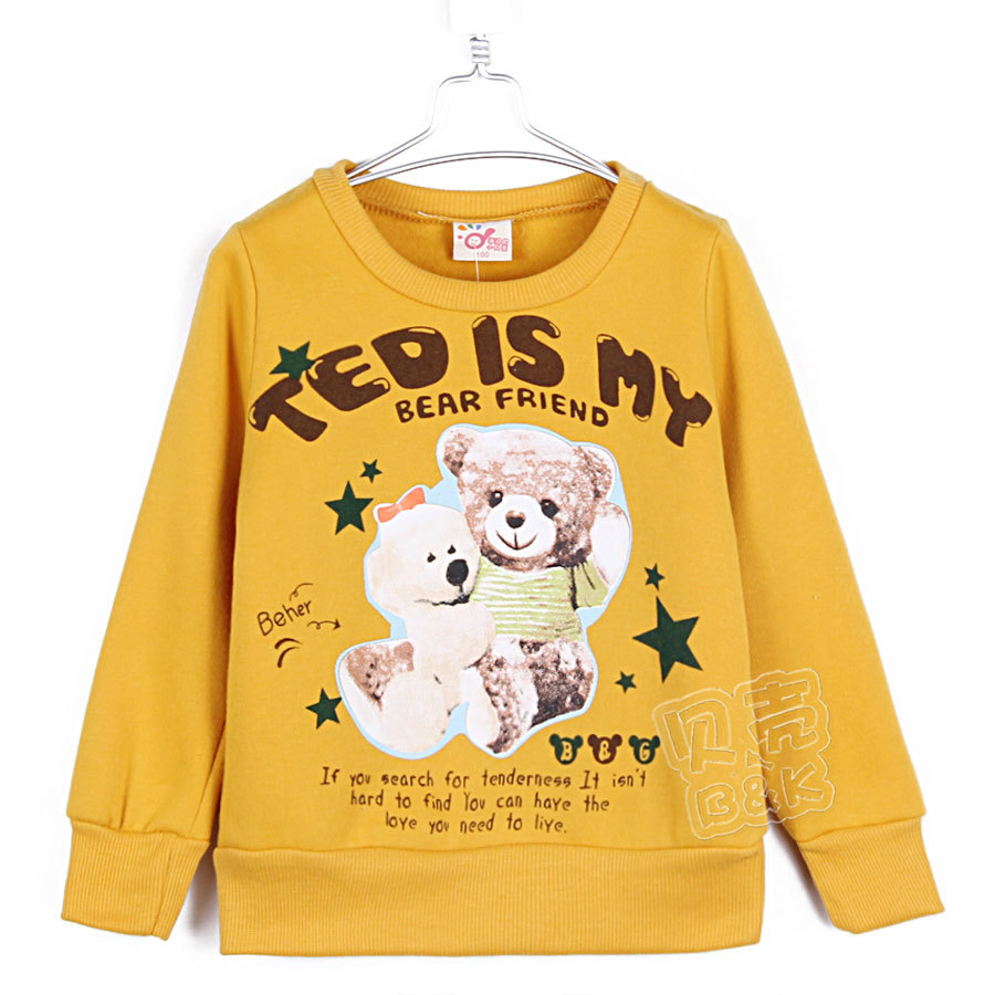 2015 autumn and winter bear boys girls clothing child fleece sweatshirt outerwear long sleeve T-shirt A0036(China (Mainland))