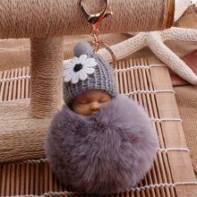 2019 Novo saco de Dormir Do Bebê Boneca Mulheres Pompom Fofo pom pom Keychain llavero chaveiro Chaveiro Bola de Pêlo de Coelho Pompom Porte clef(China)