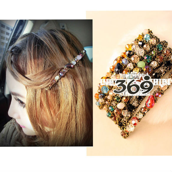 Wholesale the latest fashion multicolor crystal stone shining hair clip