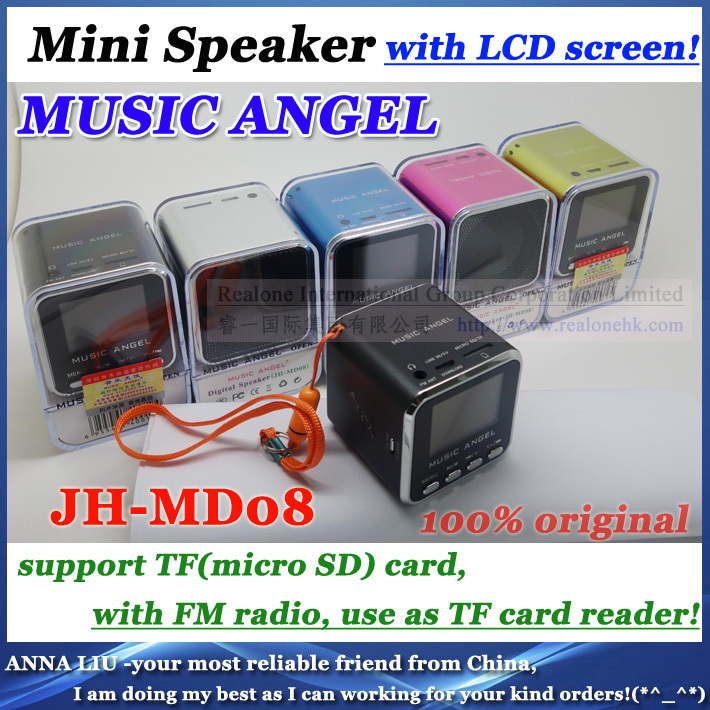 DHL Free Ship Speakers MUSIC ANGEL MD08 portable sound box support TFcard+FM radio+LCD screen+original quality+ 120pcs! - ANNA L --BEST AS I CAN store