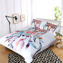 Blessliving Bedding Set Buffalo Skull with Feathers Bed Cover Dreamcatcher Southwestern Boho Chic Colorful Tribal Duvet Cover(China)